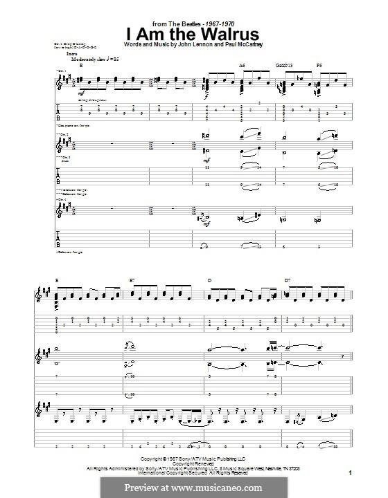 I am the Walrus (The Beatles): Für Gitarre mit Tab by John Lennon, Paul McCartney