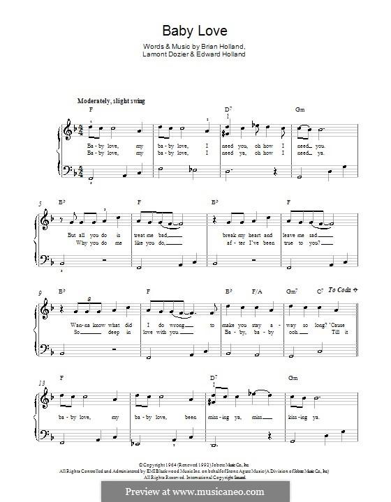 Baby Love (The Supremes): Für Klavier by Brian Holland, Edward Holland Jr., Lamont Dozier
