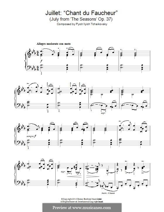 Nr.7 Juli (Lied des Schnitters): Für Klavier by Pjotr Tschaikowski