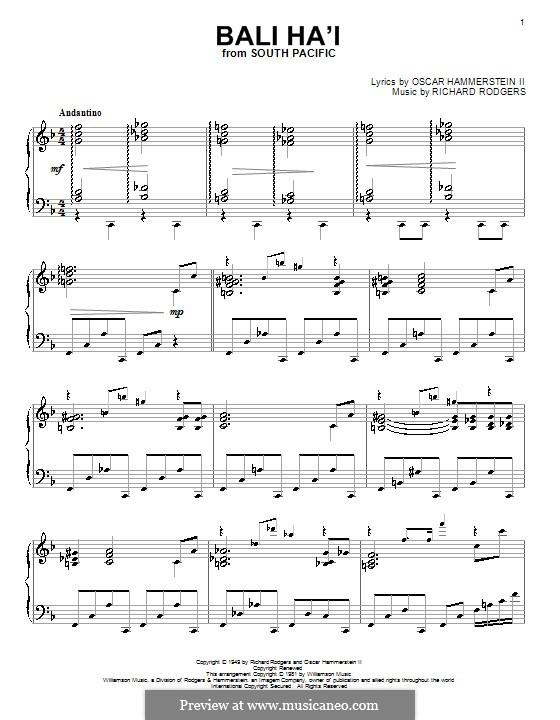 Bali Ha'i: Für Klavier by Richard Rodgers