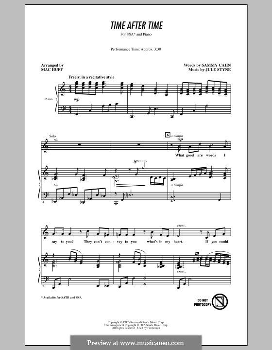 Time After Time (Frank Sinatra): Für gemischten Chor by Jule Styne