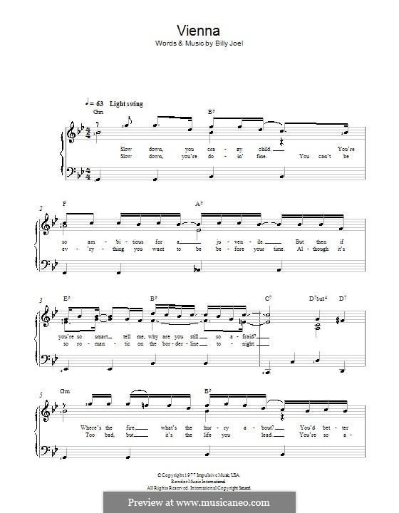 Vienna: Für Stimme und Klavier by Billy Joel