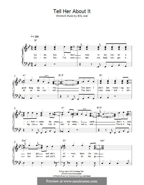 Tell Her About It: Für Stimme und Klavier by Billy Joel