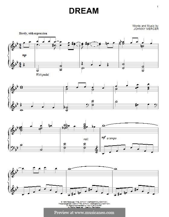 Dream (Frank Sinatra): Für Klavier by Johnny Mercer
