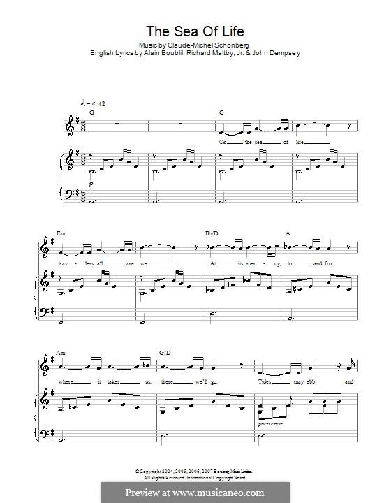 The Sea of Life: Für Stimme und Klavier by Claude-Michel Schönberg