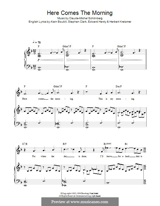 Here Comes the Morning: Für Stimme und Klavier by Claude-Michel Schönberg