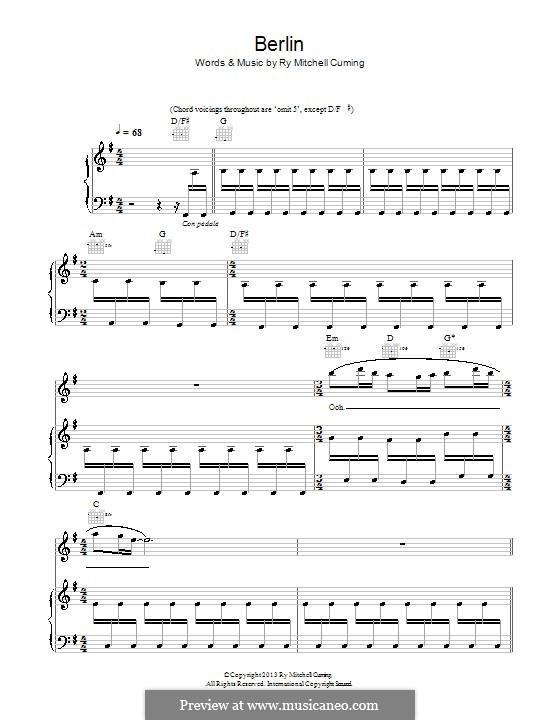 Berlin (RY X): Für Stimme und Klavier (oder Gitarre) by Ry Mitchell Cuming