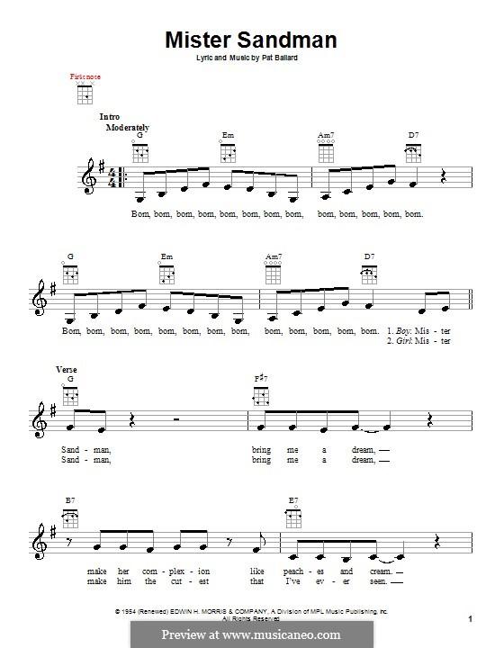 Mister Sandman (The Chordettes): Für Ukulele by Pat Ballard