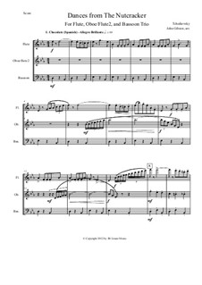 Fragmente: Three Dances, for flute, oboe and bassoon by Pjotr Tschaikowski