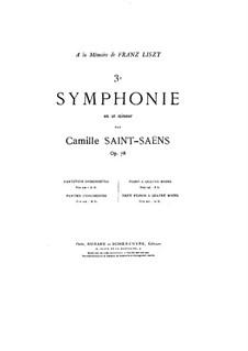 Sinfonie Nr.3 in c-Moll 'Orgelsinfonie', Op.78: Für Klavier, vierhändig by Camille Saint-Saëns