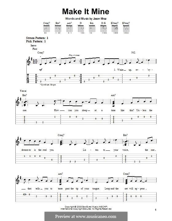 Make It Mine: Für Gitarre mit Tab by Jason Mraz