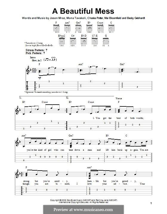 A Beautiful Mess: Für Gitarre mit Tab by Chaska Potter, Mai Bloomfield, Mona Tavakoli, Becky Gebhardt