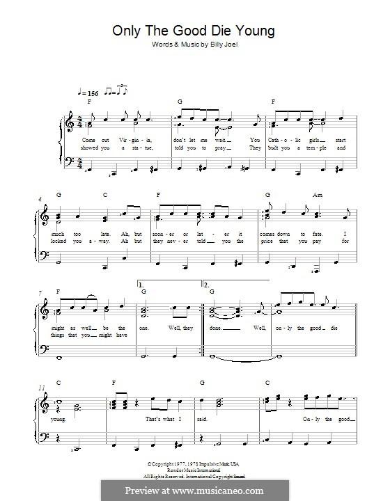 Only the Good Die Young: Für Stimme und Klavier by Billy Joel