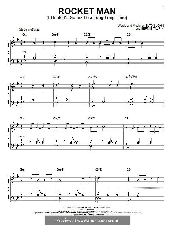 Rocket Man (I Think It's Gonna Be a Long Long Time): Für Klavier by Elton John