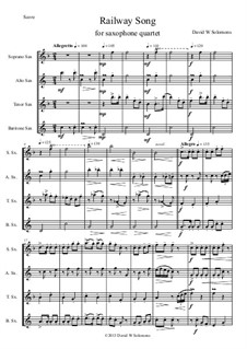 Eisenbahngesang: For saxophone quartet by folklore, David W Solomons