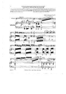 Zigeunerweisen, Op.20: Partitur, Solostimme by Pablo de Sarasate