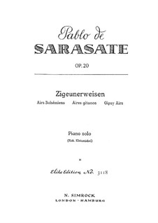Zigeunerweisen, Op.20: Bearbeitung für Klavier by Pablo de Sarasate