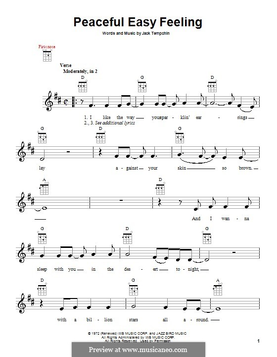 Peaceful Easy Feeling (The Eagles): Für Ukulele by Jack Tempchin