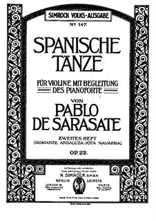 Romanza Andaluza, Op.22: Für Violine und Klavier by Pablo de Sarasate