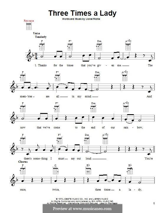 Three Times a Lady: Für Ukulele by Lionel Richie