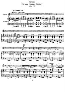 Fantasie über Themen aus 'Carmen' von Bizet, Op.25: Bearbeitung für Violine und Klavier by Pablo de Sarasate