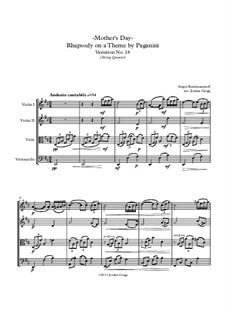 Rhapsodie über ein Thema von Paganini, Op.43: Variation XVIII, for string quartet by Sergei Rachmaninoff