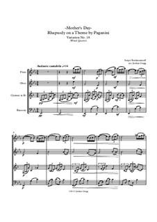 Rhapsodie über ein Thema von Paganini, Op.43: Variation XVIII, for wind quartet by Sergei Rachmaninoff