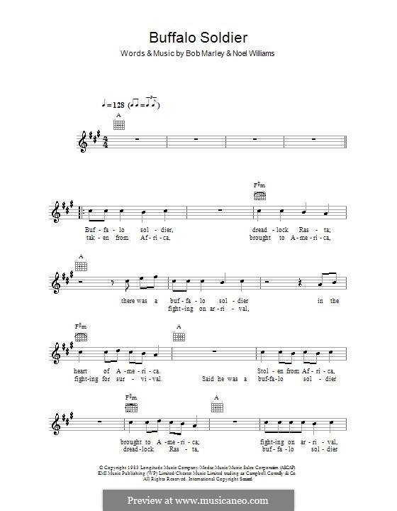Buffalo Soldier (Bob Marley): Texte und Akkorde by Noel Williams