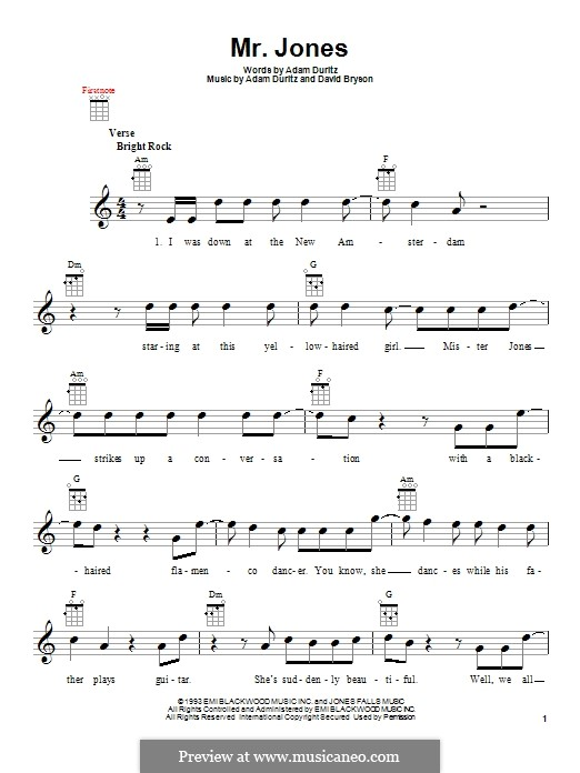 Mr. Jones (Counting Crows): Für Ukulele by Adam F. Duritz, David Bryson