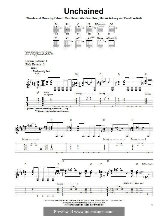 Unchained (Van Halen): Für Gitarre mit Tab by Alex Van Halen, Edward Van Halen, Michael Anthony
