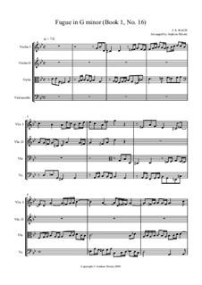 Präludium und Fuge Nr.16 in g-Moll, BWV 861: Fugue. Arrangement for string quartet by Johann Sebastian Bach