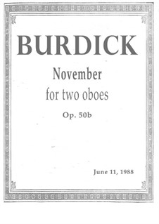 November for two oboes, Op.50b: November for two oboes by Richard Burdick