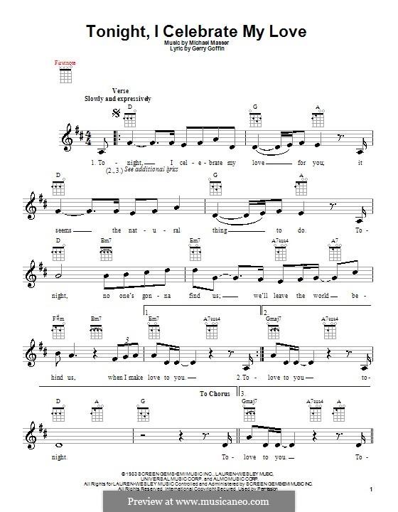 Tonight, I Celebrate My Love (Peabo Bryson and Roberta Flack): Für Ukulele by Gerry Goffin, Michael Masser