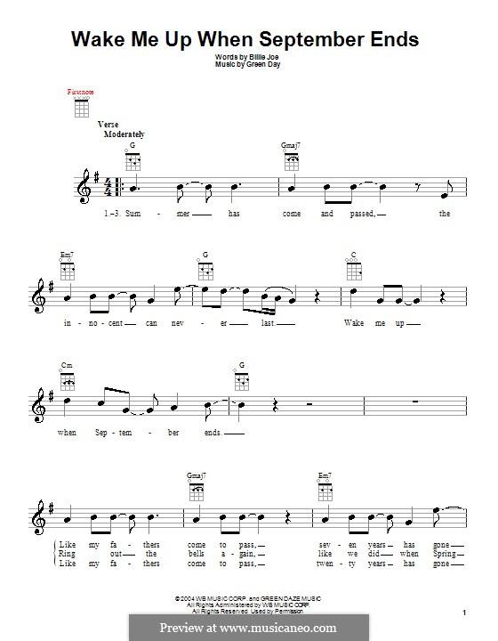 Wake Me Up When September Ends (Green Day): Für Ukulele by Billie Joe Armstrong, Tré Cool, Michael Pritchard