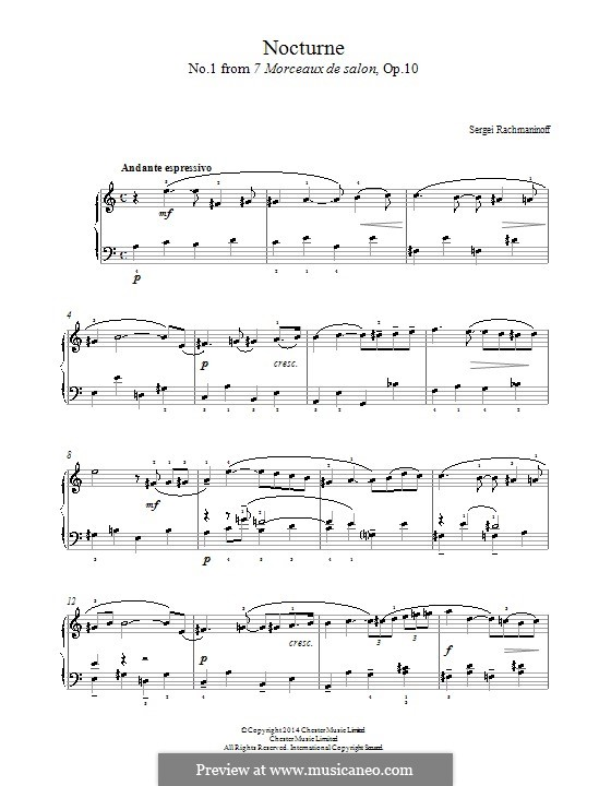 Sept Morceaux de Salon, Op.10: No.1 Nocturne by Sergei Rachmaninoff