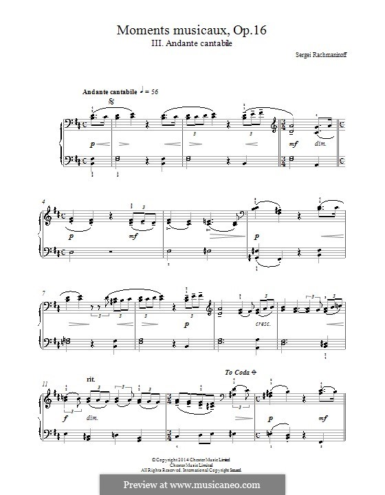 Six Moments Musicaux, Op.16: No.3 Andante cantabile by Sergei Rachmaninoff