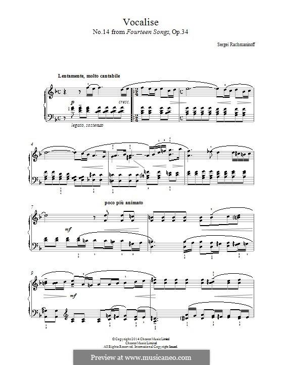 Vocalise, Op.34 No.14: Für Klavier by Sergei Rachmaninoff