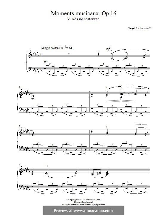 Six Moments Musicaux, Op.16: No.5 Adagio sostenuto by Sergei Rachmaninoff