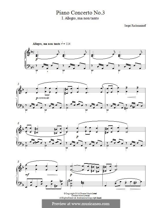 Klavierkonzert Nr.3 in d-Moll, Op.30: Teil I (Fragmente). Bearbeitung für Klavier by Sergei Rachmaninoff