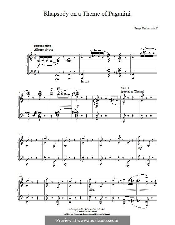 Rhapsodie über ein Thema von Paganini, Op.43: Einfache Noten für Klavier by Sergei Rachmaninoff