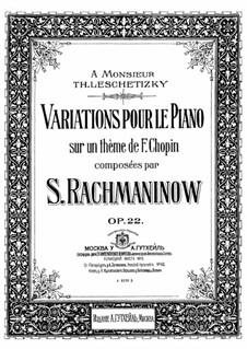 Variationen über ein Thema von Chopin, Op.22: Für Klavier by Sergei Rachmaninoff
