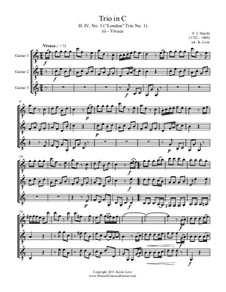 Trio in C No.1, H. IV: Movement III Vivace, for trio guitars - score and parts by Joseph Haydn