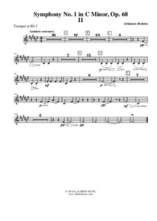 Sinfonie Nr.1 in c-Moll, Op.68: Movement II - Trumpet in Bb 2 (Transposed Part) by Johannes Brahms