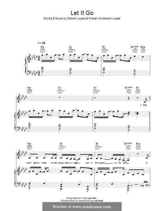 Let It Go (from Frozen): Für Stimme und Klavier (oder Gitarre) by Robert Lopez, Kristen Anderson-Lopez