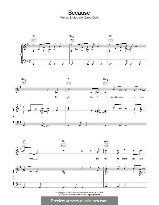 Because (The Dave Clark Five): Für Stimme und Klavier (oder Gitarre) by Dave Clark