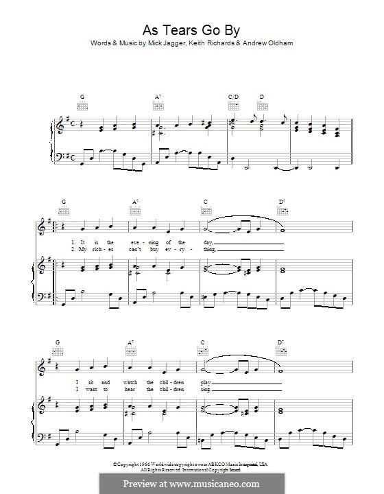 As Tears Go By (The Rolling Stones): Für Stimme und Klavier (oder Gitarre) by Keith Richards, Mick Jagger