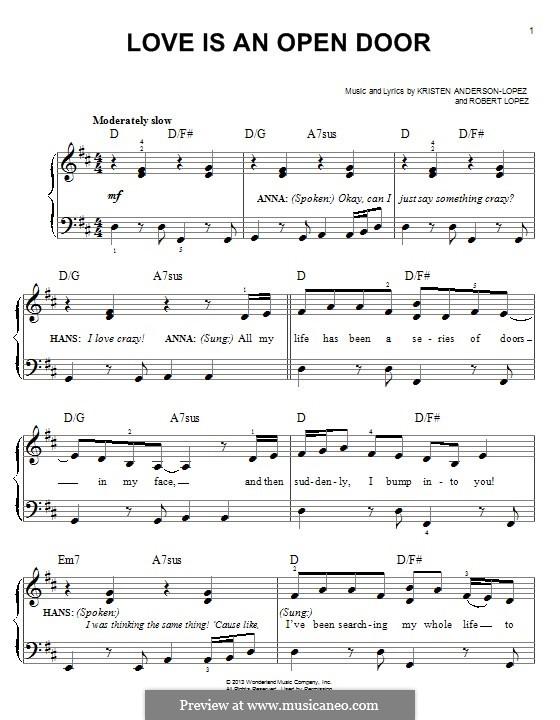 Love Is an Open Door: Für Klavier by Robert Lopez, Kristen Anderson-Lopez