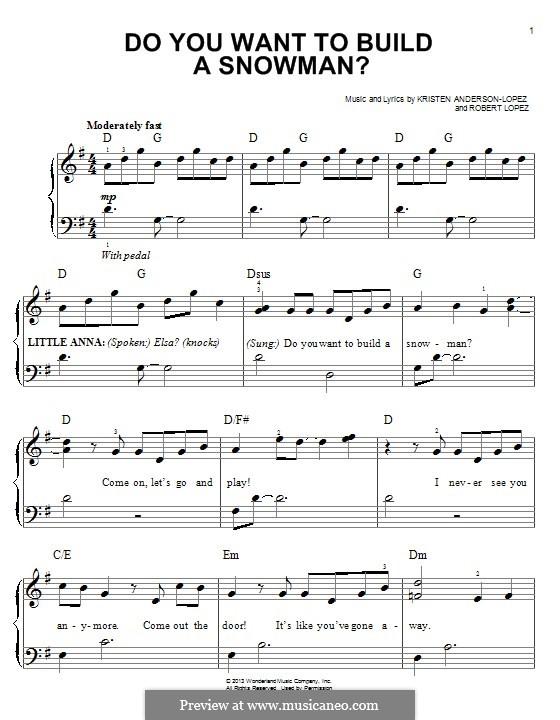 Do You Want to Build a Snowman? (Kristen Bell): Für Klavier by Robert Lopez, Kristen Anderson-Lopez
