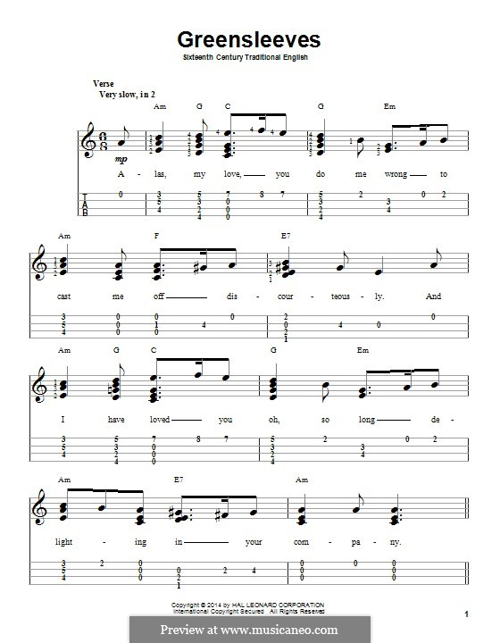 Greensleeves (Printable scores): Für Ukulele by folklore