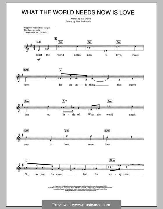What the World Needs Now Is Love: Für Keyboard by Burt Bacharach